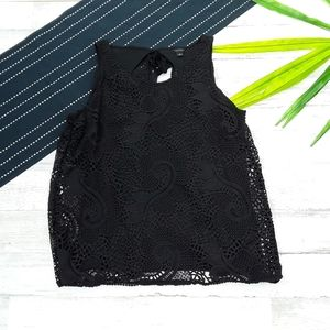 Ann Taylor| Lace Overlay Open Back Black Tank Top
